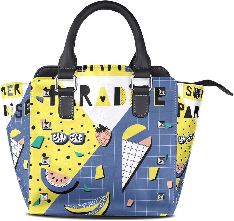 My Little Nest Women's Top Handle Satchel Handbag Summer Ladies PU Leather Shoulder Bag Crossbody Bag