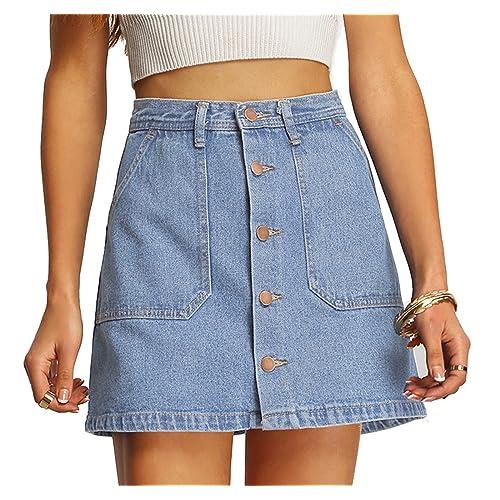 8e69a1c0c3 SheIn Women's Button Front Denim A-Line Short Skirt
