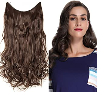 Hairro Synthetic Halo Hair Extensions (#M4 Medium Brown) Hidden Crown Extensions with Transparent Secret Fish Line Headban...