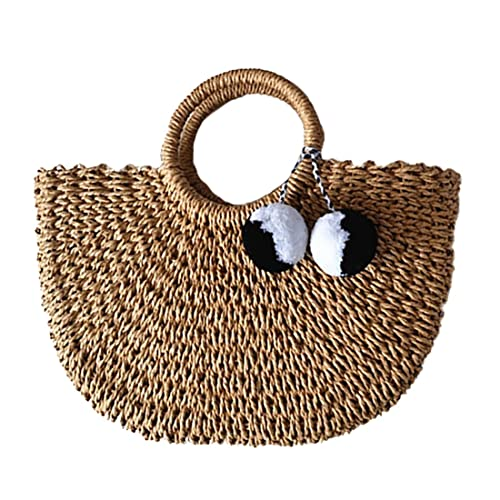Hand-woven Straw Large Hobo Bag for Women Round Handle Ring Toto Retro Summer Beach