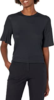 Marca Amazon - Lark & Ro Rayon Span Flutter Sleeve Top Mujer