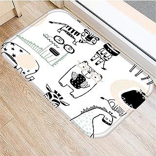 JZYZSNLB Doormat Cartoon 4060cm Pattern Anti-Slip Suede Carpet Door Mat Doormat Outdoor Kitchen Living Room Floor Mat Rug...