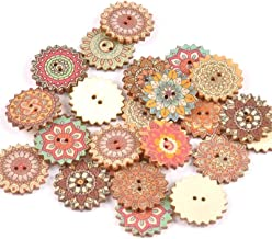LQXZJ-DIY-handwerk, 300 Stuks Houten Bedrukte Knopen, 20 / 25mm Gemengde Vintage Patroonknopen, Handgemaakte Knutselknope...