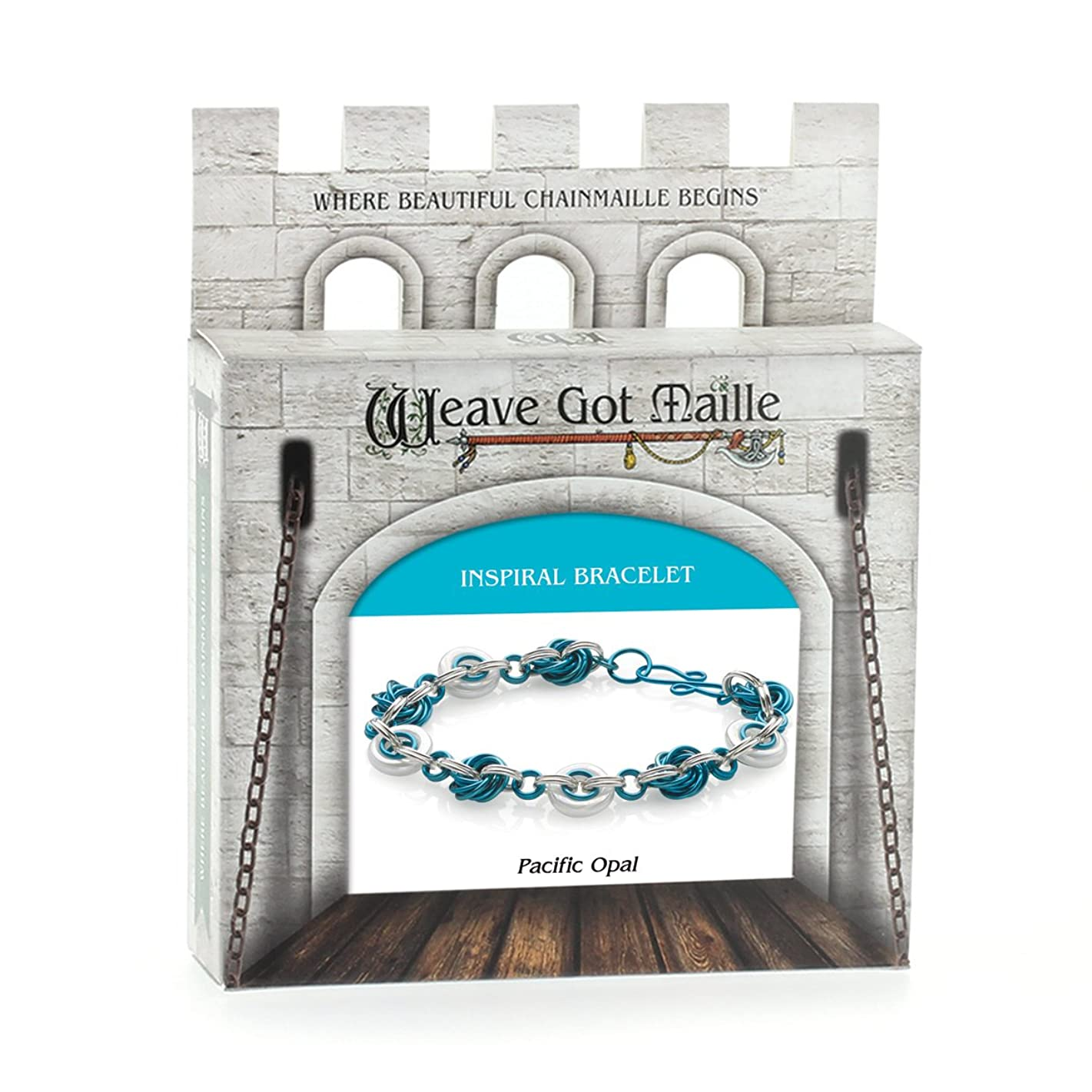 Weave Got Maille Inspiral Chain Maille Bracelet Kit, Pacific Opal