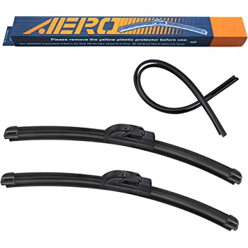 """AERO Voyager 24"""" + 18"""" Premium All-Season OEM Quality Windshield Wiper Blades with Extra Rubber Refill + 1 Year Warranty (Set of 2)"""