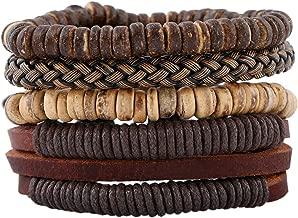 Aooaz 4Pcs Wristband Gothic Mens Bracelets Leather Bangle Mala Bracelet Set
