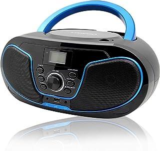 comprar comparacion LONPOO Portátil Bluetooth Reproductor de CD Boombox 4W (FM Radio, Reproductor de CD / MP3, USB2.0, AUX-IN, Bluetooth4.0)