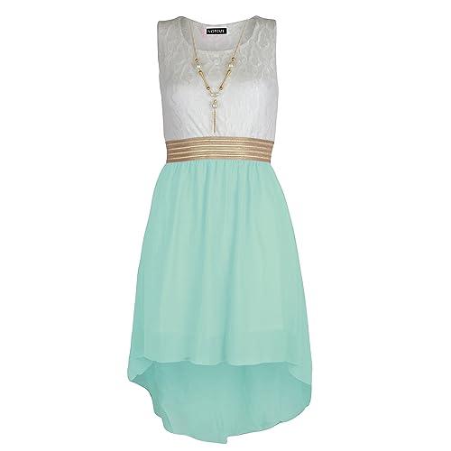 d6cc5695e5b01 NOROZE Girls Sleeveless Waist Band Asymmetrical Chiffon Dress with Neckless