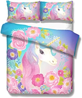ADASMILE A & S Unicorn Bedding Girl Magical Cooper Cute Kids Duvet Cover Set with Flowers for Teens or Unicorn Lovers-Twin Size