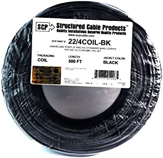22 Ga 4 Conductor UL STRANDED COPPER BLACK 500 FT Security Alarm Wire
