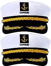 SATINIOR 2 Pieces Navy Marine Admiral Style Hat Adjustable Ship Sailor Cap Yacht Boat Captain Hat for Men Women Costume Favor