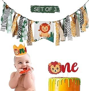AERZETIX Jungle Safari Baby 1st Birthday Party Decoration Set with Lion Highchair Burlap Banner, One Birthday Crown Hat, Little Lion One Cake Topper Newborn First Bday Decorations Sign