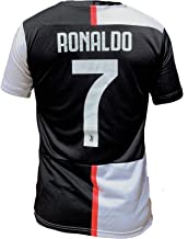 K4NCHA Ronaldo Jersey Home for Men Black and White CR7 Printed Number 7