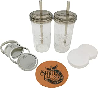 Mason Jar Drinking Glass Set - (2) 24oz Wide Mouth Ball Mason Jars with (2) Drinking Lids & Straws, (2) Storage Caps, (2) Metal Lids and Bands, and (1) Spirit Quest Supplies Large Jar Opener