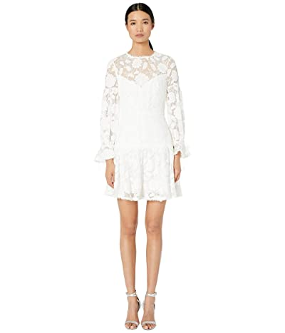 ML Monique Lhuillier Floral Embroidered Mesh Cocktail Dress (Ivory) Women