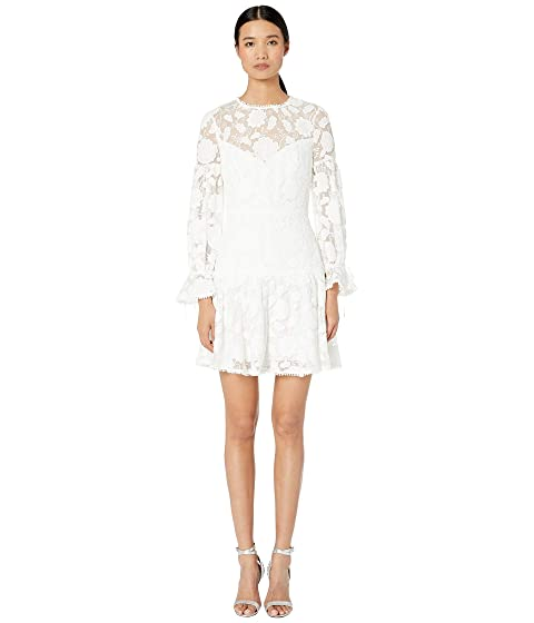 ML Monique Lhuillier Floral Embroidered Mesh Cocktail Dress