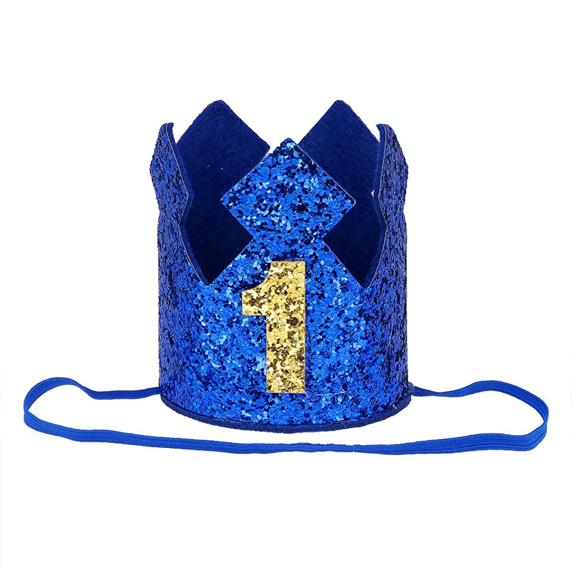 Alvivi Baby Boys Girls Sparkly Glittery First 1st Birthday Crown Prince Party Hat Headband Hand Wear Accessories Blue One Size
