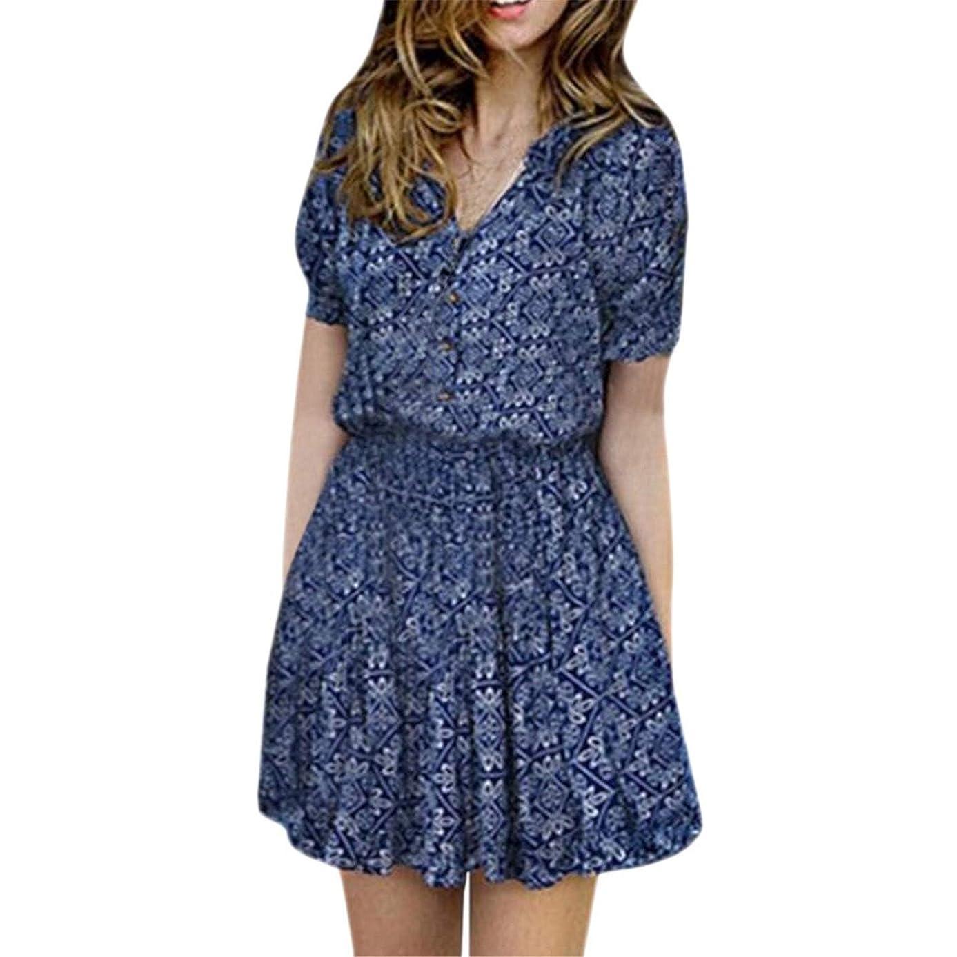 SALE Women Summer Floral Print V-neckline Casual Short Sleeve Mini Dress New arrival