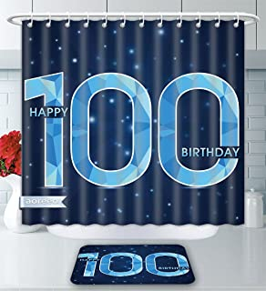 Aoreeo Bathroom Two-Piece Set 100Th Birthday Decorations Happy Birthday Old Grandparents Century Party Image Sky Blue Navy Blue Shower Curtain Bath Rug Set, 71