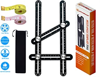 CJANDEP Angle Measurement Tool | Aluminum Alloy Angle Template Tool | Universal Angle Ruler | 5 Bonus Items - Protective Pouch, 2 Tape Measures, Instruction and High-Grade Packing Box