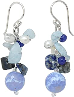 Multi-Gem Cultured Freshwater Pearl .925 Sterling Silver Beaded Dangle Earrings, Azure Love'