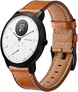 HATALKIN Watch Band for Withings/Nokia Steel HR Band 40mm Leather,20mm Watch Band Geniune Leather Replacement Strap Compat...