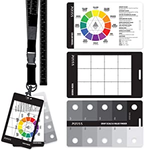 Grey Scale Value Finder, Color Wheel, Artists View Catcher Finder Viewfinder on Lanyard with Measuring Tape Tools for Artists Drawing - Made in The USA