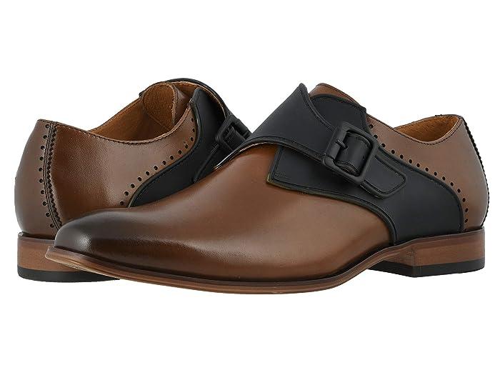 Mens Vintage Style Shoes & Boots| Retro Classic Shoes Stacy Adams Sutcliff Plain Toe Monk Strap Cognac Mens Shoes $100.00 AT vintagedancer.com
