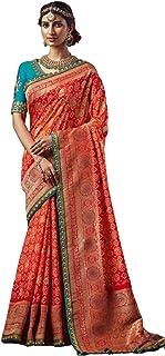 ORANGE Indian Woman Wedding Swarovski Pallu Saree Pure Soft Silk Bandhej Weaving Bridal Bandhani Sari Blouse 6246