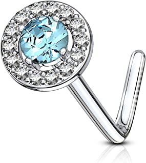 Forbidden Body Jewelry 20g Surgical Steel Fancy Double Tired Big 6mm CZ Halo L Shaped Nose Ring