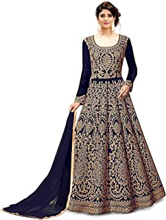 2c4fd4b7615 Fast Fashions Women s Embroidered Fentam Silk Semi Stitched Anarkali Gown  (Blue Free Size)