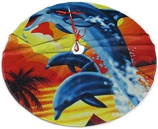 ENJOYG Christmas Tree Skirt,Sunset Dolphin Christmas Tree Skirt Mat 30