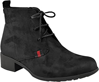 Fashion Thirsty Womens Low Heel Work Office Lace Up Comfort Casual Ankle Boots