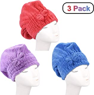 Microfiber Quickly Dry Wet Hair Towels for Ladies or Girls,Dee Banna Microfiber Bath Towel Hat Hair Quick Drying Towel Hat Ultra Absorbent Microfiber Drying Cap Size 3 PCS (Red Blue Purple)