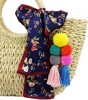 RareLove Bohemian Pom Pom Tassel Keychain and Navy Blue Flower Floral Satin Hair Silk Feeling Scarf for Straw Beach Bag