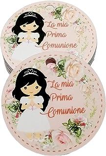 50 pezzi, Bigliettini Prima Comunione Stampati per bomboniera 35 millimetri, bomboniere, bianchi, etichette, comunione, cr...