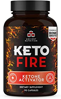 Ancient Nutrition KetoFIRE Capsules, Keto Supplement with BHB Salts as Exogenous Ketones, MCTs from Coconut, Electrolytes and Caffeine, Ketone Activator, 90 Count