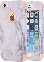 iPhone 5S Case, iPhone 5 Case,iPhone SE Case, KAMII White Marble Stone Pattern Shockproof 2in1 Dual Layer TPU Bumper Hard PC Hybrid Defender Armor Case Cover for Apple iPhone 5 5S SE