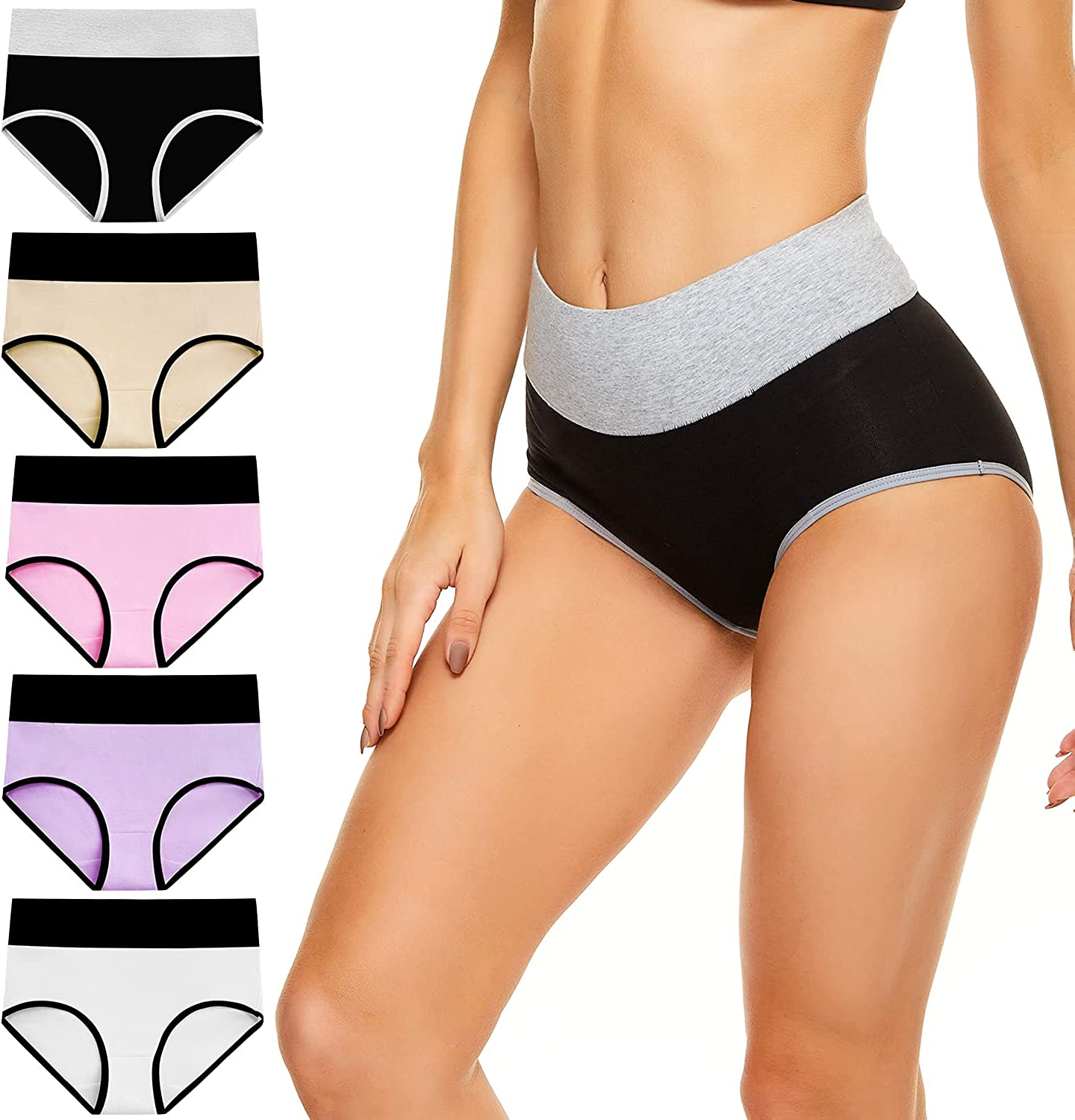 cassney Women's High Waisted Underwear Ladies Stretch Cotton Panties Full Coverage Briefs 5 Pack