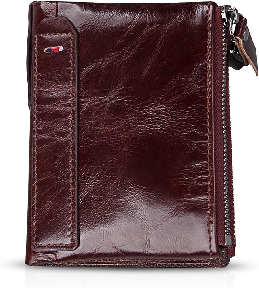 Fandare portafoglio porta carte di credito con protezione anticlonazione unisex in pelle AK-BV007