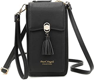RFID Blocking Wallet Women's Small Crossbody Handbag Cell Phone Bag Credit Card Purse with Tassel
