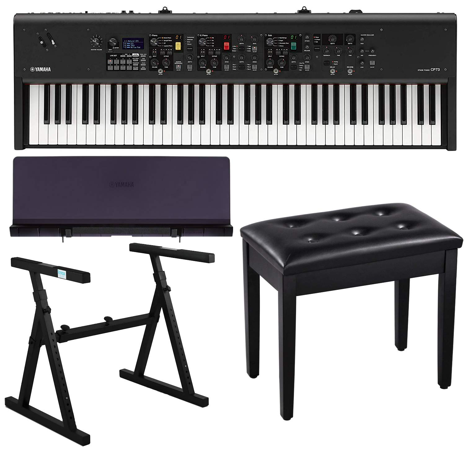 Black Padded Piano Bench with Storage and Music Rest Yamaha CP73 73-Key Stage Piano Bundle with Heavy Duty Z-Stand