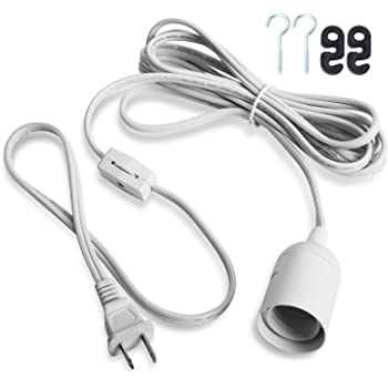 ABI E26 Light Bulb Socket to 2-Prong US AC Power Cord Adapter with On//Off Switch 12 FT Cable JacobsParts Inc.