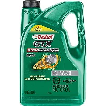 Castrol 03100 GTX High Mileage 5W-20 Synthetic Blend Motor Oil, 5 Quart