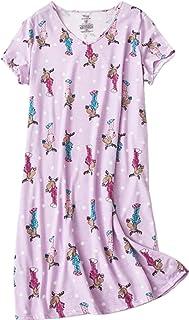 Amoy-Baby Women s Cotton Nightgown Sleepwear Short Sleeves Shirt Casual  Print Sleepdress 434f06604