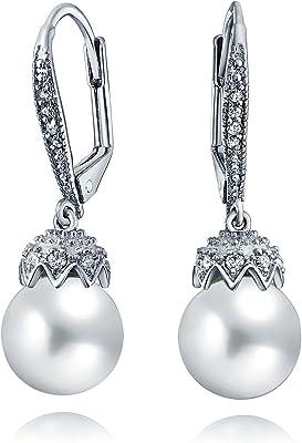 Orecchini a goccia da sposa leverback crown ball round white simulato perla CZ Huggie per le donne per prom argento placcato ottone