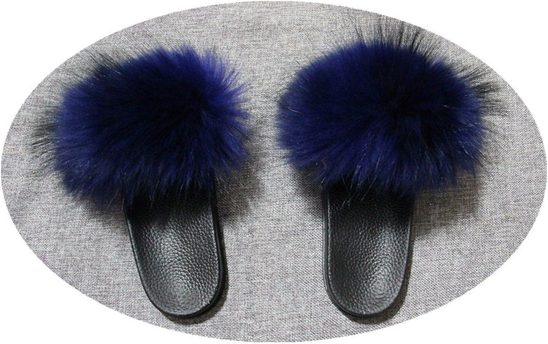 QMFUR Women Real Raccoon Fur Open Toe Single Strap Slip On Sandals (10, Dark bluee-1)