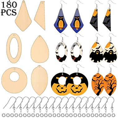 180 Pieces Unfinished Wooden Earrings Pendant Teardrop Round Tapered Blank Pendant Natural Wood Cutout Earrings with 180 Pieces Earring Hooks, 180 Pieces Jump Rings for DIY Jewelry Craft, 6 Styles
