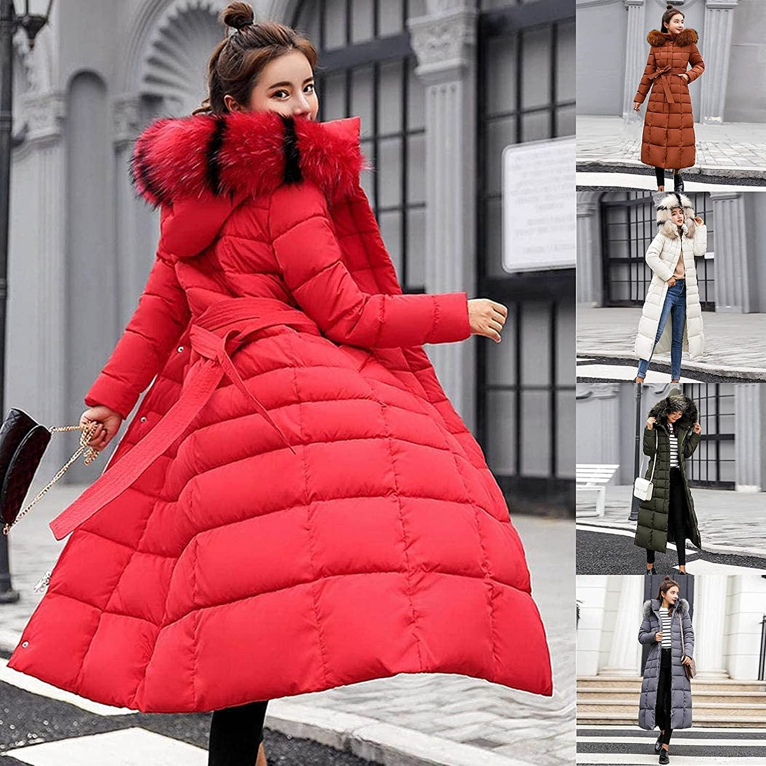 FIRERO Women's Pockets Hooded Down Coat Zipple Closure Solid Color Long Jacket with Fur Colla