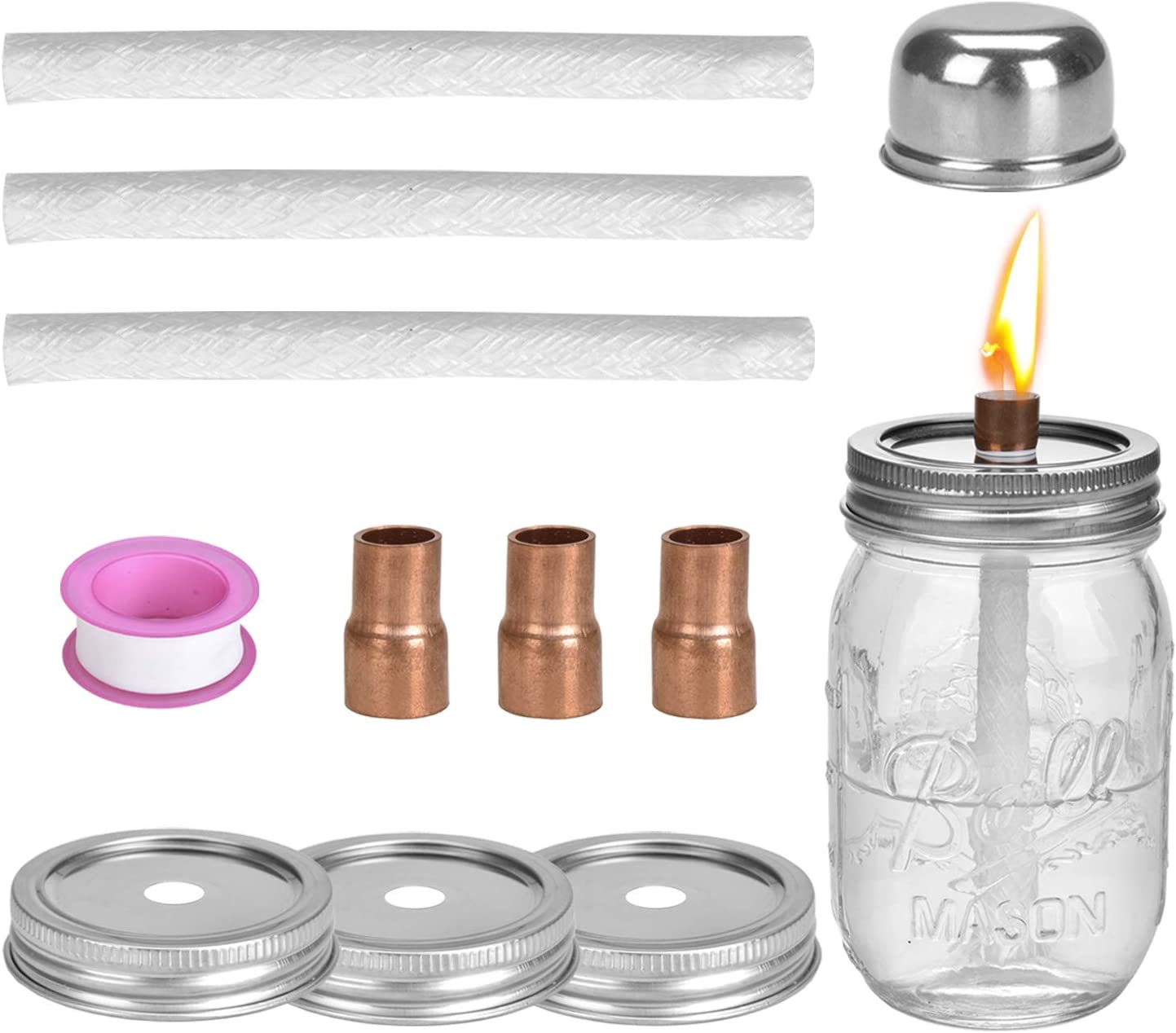 Browill 3 Pack Mason Jar Table with Lamp Torches Set Oil Challenge the lowest price of Japan Free shipping New Top